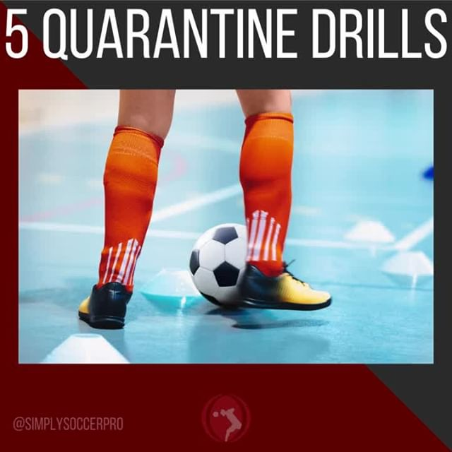 Tag a mate who could use these 5 drills! 👇⠀ -⠀ Being at home doesn't mean you can't train! Here are 5 simple, but very effective drills you can do in limited space!⠀ -⠀ 1st one is simply called inside taps. The idea is to stay on your toes and drag or touch the ball from one foot to the other under control as fast as you can.⠀ -⠀ 2nd drill I just call Cruyffs! I believe the cruyff turn to be the most effective move out there so being able to do it quickly on both sides is very valuable. This drill just calls for you to alternate in control as fast as you can.⠀ -⠀ 3rd drill you are going to do stepovers as fast as you can with both feet over a still ball. Stay on your toes and go as fast as you can!⠀ -⠀ 4th drill is similar except you'll be doing a different stepover tech. Again, stay on your toes and go as fast as you can!⠀ -⠀ 5 drill is actual a combo of 3. For 20 seconds you'll take touches in place with the inside and outside of one foot, then do the same on the other side, and then do the same alternating for a total of 1 minute.
