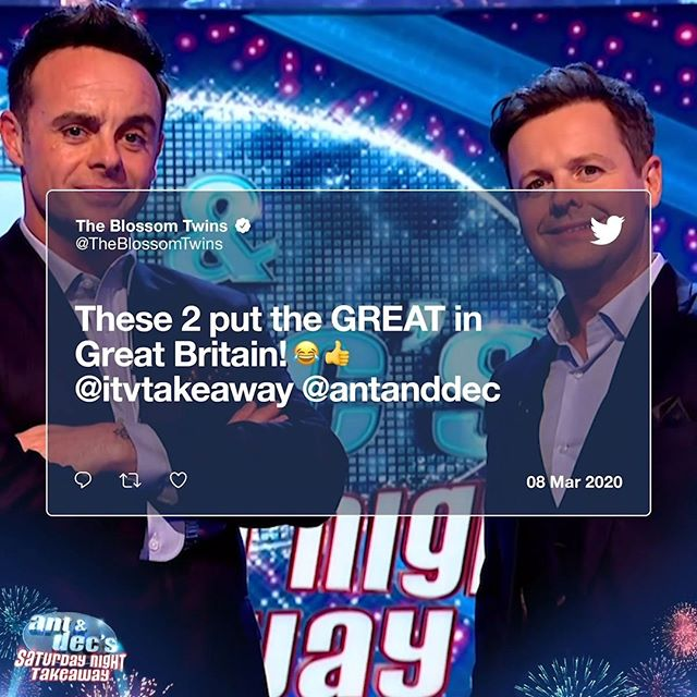 Just stopping by to show @antanddec some love ❤️ #SaturdayNightTakeaway