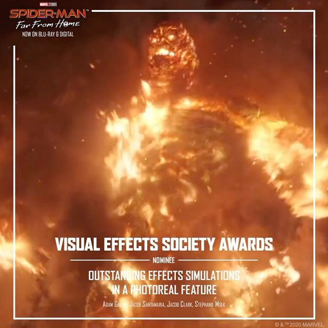 Thanks to the Visual Effects Society for nominating the #SpiderManFarFromHome team for Outstanding Effects Simulations in a Photoreal Feature for Molten Man! #VESAwards