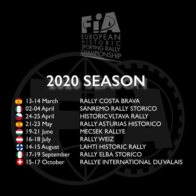 #EHSRC - The FIA is pleased to announce the 2020 FIA Historic Sporting Rally Championship calendar, the registration will be open the 20 January 2020