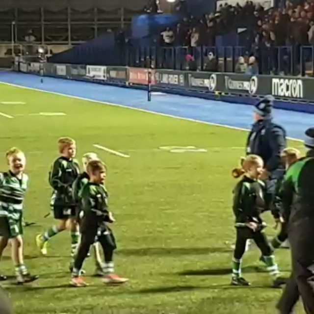 My fav ... being cheered off the pitch after playing at half time. Archie had paper stuffed up his nose after a nose bleed and it was lashing down 😂im so proud #proud #rugby #bluesvmunster
