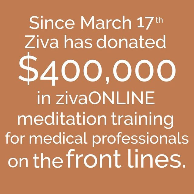 Two weeks ago we announced Ziva is offering full scholarships to zivaONLINE for medical professionals on the frontlines. Since then over 1,000 people have applied and been accepted and we've donated over $400,000 of zivaONLINE to medical professionals!  When we unveiled the scholarship for medical professionals and the 50% price reduction for everyone else we had no idea what the coming weeks would bring.  Now it's becoming clear that this is a marathon, not a sprint, and in the US we are being encouraged to continue physical distancing until at least April 30.  Because of this we've decided to extend the scholarship opportunity and the 50% off price reduction until April 30.  This will allow more people to learn the most powerful resilience training in the world -- in a time when it is desperately needed.  If you're an MD, nurse, physician assistant, respiratory therapist or EMT and would like to apply for your scholarship, or if you've been wanting to learn to meditate, learn more about zivaONLINE at the link in our bio.  To coming out of this stronger on the other side 🧡