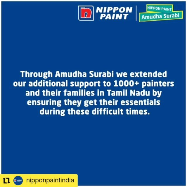 A splash of colour during the dark times! #WhistlePodu #COVID2019 🦁💛 #Repost @nipponpaintindia • • • • • • We're touched by these heartfelt testimonials from our painters in Tamil Nadu. We're very proud and happy to put a smile on their faces by going the extra mile to help them get their daily essentials during this lockdown with the Amudha Surabi card.  #NipponPaint #Lockdown #StayHomeStaySafe #COVID19