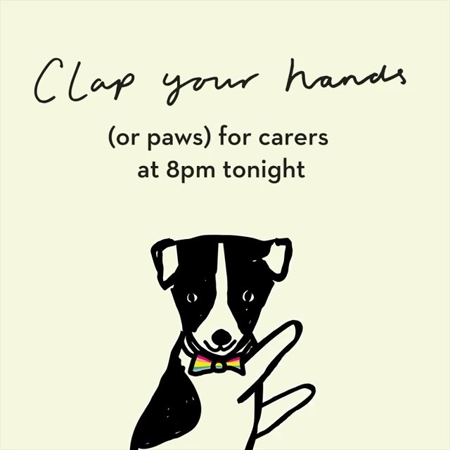 Just a reminder to get your hands/paws at the ready. We're going with a saucepan and spoon this week... #ClapForOurCarers