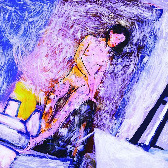 Digital art  Cuadro 50/50 @gracias @roximnaturaleza  Modelo en vivo  #arte #deepblue #amar