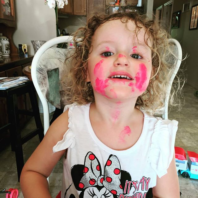 When your three year old daughter gets into your lipstick....everywhere but the lips!!!! #toddler #toddlergirl #lipstick #girly #adorable #cute #momlife #prettyinpink #makeup