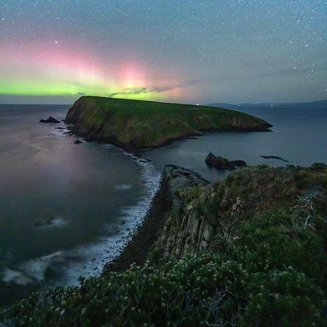 """Aurora Australis over Courts Island, on the southern tip of Bruny Island, thanks to @tscharke from @beautyoftasmania who says: """"This view never gets old and it's such a great spot."""" #TasmaniaGram #InstaTasmania #InstaTassie #tasmania #courtsisland #brunyisland #auroraaustralis"""