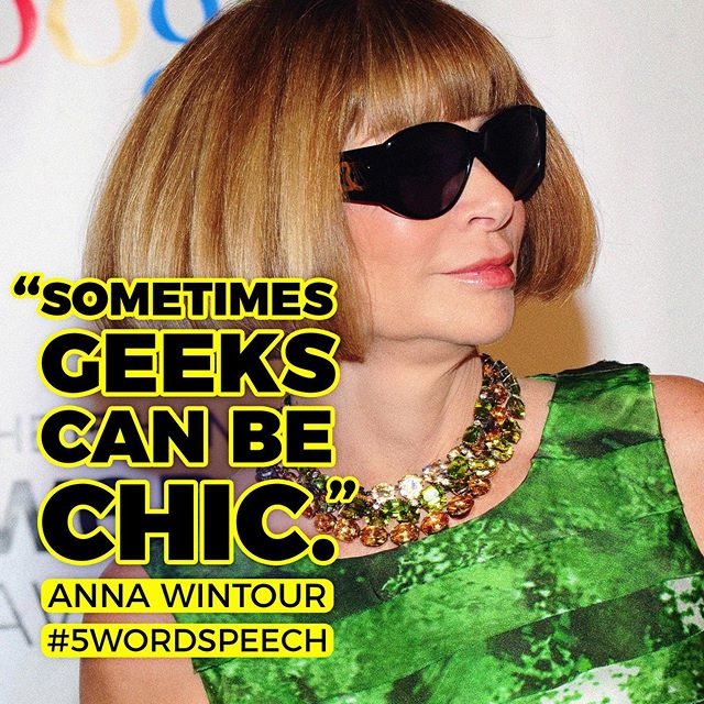 Today #NYFW kicks off in #NYC, so we're throwing back to this #5WordSpeech classic by #AnnaWintour at the 15th Annual #Webbys! 🕶💄👠 #vogue #tbt — Watch the on-stage moment (feat. @daniel9340) → Link in bio