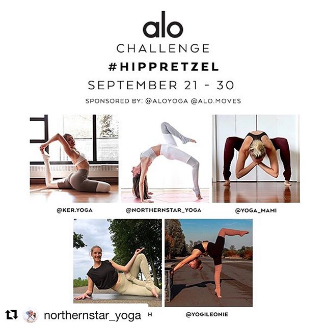Who is joining, too? ・・・ 🌟🥨🧘‍♀️ NEW CHALLENGE #HipPretzel 🧘‍♀️🥨🌟 . Asana literally means seat and in our minds we often think of lotus pose as the traditional seated meditation pose that often represents the practice of yoga. 🧘‍♀️ During these ten days we'll be working towards lotus pose and open up our hips to approach our peak pose in a safe way. . Join us for a yummy hip opener practice starting September 21st! Whether you love all kinds of lotus variations or you have never tried this pose yet, this challenge is for all levels and modifications are more than welcome! . ⁣It's easy to play:⁣ 👉Follow all hosts and sponsors 👉Help us spread the word by reposting this flyer and tagging some friends to join. 👉Post a picture each day using the hashtag #HipPretzel and mentioning hosts & sponsors⁣- health and safety always come first, props and modifications are welcome! 👉Set your profile to public so we can see you. 👉Spread some love to your fellow hosts & participants during the challenge! . 🧘‍♀️Hosts: @ker.yoga @northernstar_yoga @yoga_mami @yogawesermarsch @yogileonie . 💕Sponsors: @aloyoga @alo.moves . . 🥨Pose List: 1 Lizard or low lunge  2 Warrior 2 or half moon 3 Butterfly or frog 4 Cow face or eagle 5 Goddess or malasana 6 Pigeon or firelog 7 Straddle fold or hand to big toe  8 Figure four or foot to armpit 9 Any half lotus pose 10 Any full lotus pose . . #aloyoga #alomoves #aloyogachallenge #yogachallenge #hipopener #Yoga #yogagermany