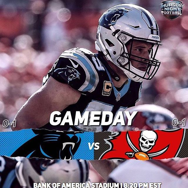 Panthers football already? On a Thursday? Yes. We play the Bucs tonight in front of the whole country! No pressure! Hopefully we can turn that 0-1 to 1-1 by the end of the night or else the next 10 days will not be a fun time 👺 Lets goooo! #keeppounding