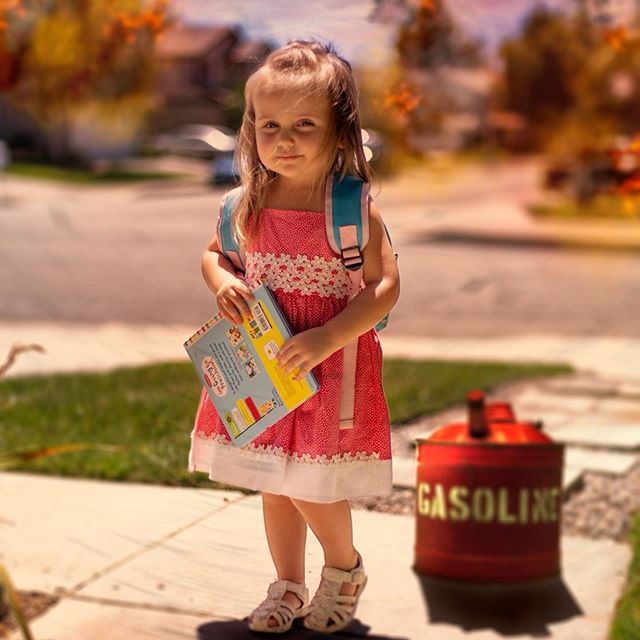 """When I was taking my daughter's first day of pre-school photos, I immediately got the """"disaster girl"""" meme vibes from this frame and had to make this edit. Any other memes you'd like to see me reimagine? . Model: Sutton! Camera: @canonusa 5DMKIII w/ 50mm 1.4 lens Settings: f/1.4 - ISO 125 - SS 1/2500 . . . . . . .  #dopeports #endlessfaces #thoughtcatalog #vogove10k  #createcommune #alltheoceanblues  #under10kportraits  #gramkilla  #santaclaritaphotographer #xelfies #disastergirl  #dadjokes  #dadlifeisthebestlife"""