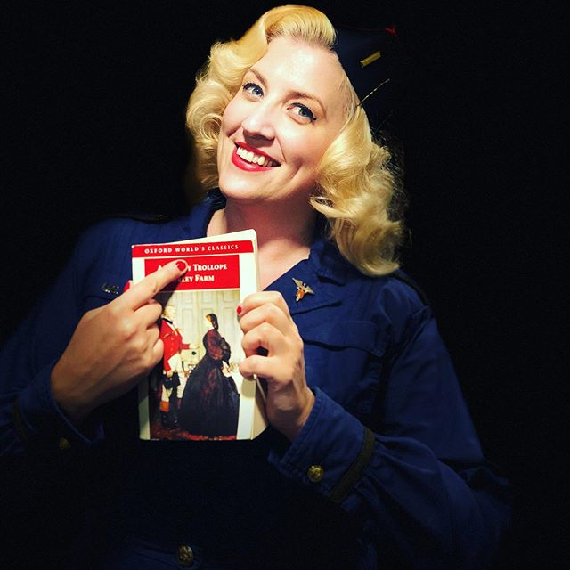 Lois has finally found an author she can relate to! . . . #vintage #vintagestyle #vintagepinup #vintageclothing #1940s #1940ssinger #vintagesinger #wartimesinger #blondebombshell #vintagehair #pincurlset #wartimedame #pinupstyle #anthonytrollope