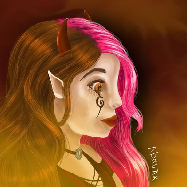 WAIT WHAT ?! I. POSTED. SOMETHING.  Ok so I didn't think I'd finish it tonight but it took me only 2hrs to make (I drew the sketch on paper) I'm really happy with how it turned out but the colors are kinda ewwww 😂 This is a character I created in one of the many unfinished (or not even started) stories I invent 😂😂 I may draw her again in the future since i loved drawing her 🤗 (totally not inspired by my fav show of the moment, Lucifer...) I recorded the whole process so I'll put it on my YouTube channel on Monday, if you didn't know it's Blanka Dawngarden 😄