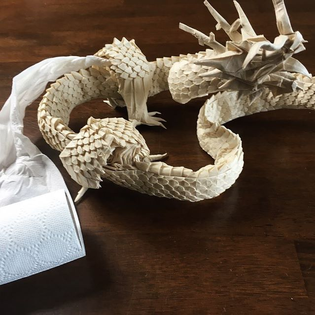 Just did the impossible, Ryujin 3.5 from 1 roll of toilet paper!!! . . . #origami #origamitutorial #origamiart #art #artist #artistsoninstagram #paper #paperart #paperartist #ryujin #ryujin35 #satoshikamiya #tutorial #fearlessflourish #papercrafts #dragon #youtuber