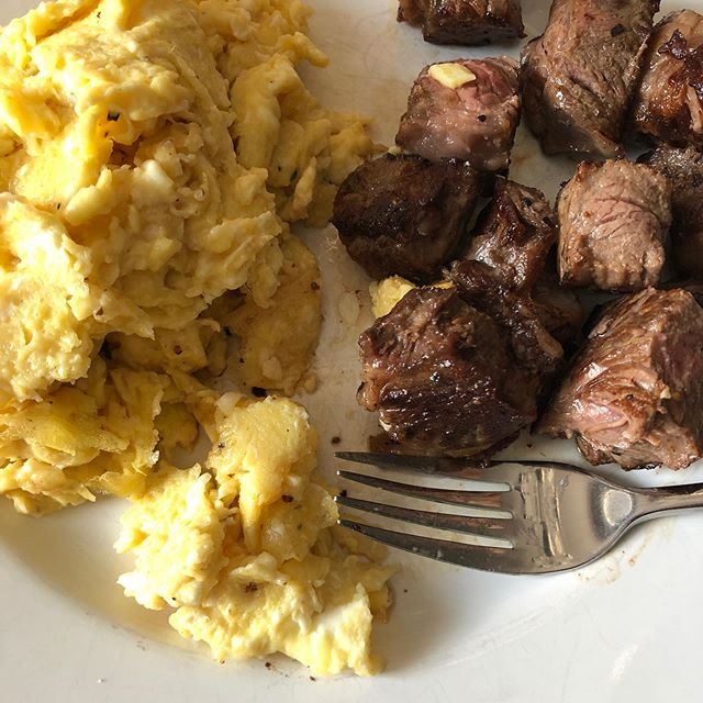 First and possibly only meal today #steakandeggs leftover #ribeye and some scrambled eggs with salt and pepper! . . . . . . . . . . .  #ketolife #ketoaf #carnivoreketo #ketolifestyle #keto #ketodiet #ketotransformation #ketogenicdiet #ketoweightloss #ketoweightlossjourney #carnivorediet #lowcarbdiet #lowcarbweightloss #lchf #lowcarbhighfat #weightlossjourney #weightloss #weightlosstransformation #type2diabetes #type2 #myastheniagravis #ketofood #ketofoods #autoimmunedisease #autoimmunewarrior #spoonie