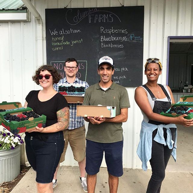 Our legal team went berry-picking today after a long week of reviewing briefs. 😍😇 From L to R: Senior Attorney Amy van Saun, Staff Attorney Ryan Talbott, Law Clerks Daniel Bornstein and Rebeka Dawit. #summerfridays #goteam #truefood #happyaugust #neededthis