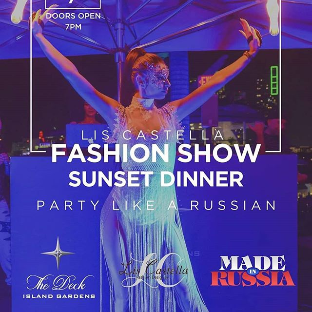 MIAMI, Don't Miss Next Made in Russia Event! Saturday September 7th  7pm  Sunset Dinner Party Like a Russian at The Deck Island Gardens! Hosted by Sasha Poline FASHION SHOW by  Lis Castella Designs Music by:INDIGO Saxophone VITYSAXPG,  Free entrance with RSVP on Eventbright, Register now. RSVP doesn't guarantee the entrance, if we run out of capacity.See the link below: https://www.eventbrite.com/e/miami-next-made-in-russia-event-saturday-september-7-dinner-party-the-deck-tickets-69333385021?aff=affiliate1MadeinRussia Party starts at 7pm  For Dinner Reservations and more information 917-7018925 The Deck Island Gardens 888  MacArthur Gswy, Miami 33132  Here is Photos that you can see from Miami Made in Russia Event May 11th at The Deck Island Gardens  https://www.facebook.com/alexandersasha.poline/media_set?set=a.2390612297664269&type=3  Photos from Saturday June 15th 2019 MADE in RUSSIA event  Sunset Dinner Party Like a Russian at The Deck Island Gardens  Hosted by Sasha Poline https://www.facebook.com/alexandersasha.poline/media_set?set=a.2456905314368300&type=3  Photos from Saturday July 20th  2019 MADE in RUSSIA event  Sunset Dinner Party Like a Russian at The Deck Island Gardens  Hosted by Sasha Poline https://www.facebook.com/alexandersasha.poline/media_set?set=a.2514971275228370&type=3  Photos from MIAMI Saturday August 10th 2019 MADE in RUSSIA Sunset Dinner Party Like a Russian at The Deck Island Gardens Hosted by Sasha Poline  https://www.facebook.com/alexandersasha.poline/media_set?set=a.2545368378855326&type=3