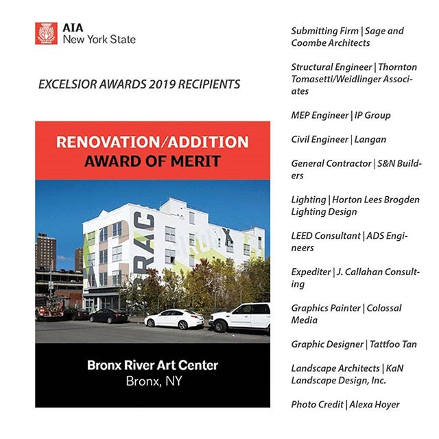 Thank you @sageandcoombe for submitting the project and including KaN as landscape designers. Congratulations to the whole team. @tattfoo for his award winning design. And of course  @bronxriverartcenter for bringing the vision to fruition!  #awards #teamwork #bracisback
