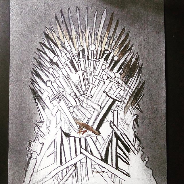 "So here you go, the final episode of my GOT Series. ""THE THRONE"" Episode 8, the final episode. This is just a rough sketch.. I'll share the progress with you all on this one Go have a look on my Channel: Mahnoor Rizvi 📹 Or follow the link in my Instagram Bio 👆🏼 👆🏼 👆🏼 ----- --------- #fanart #artwork #sketch #artist #art #realistic #sketches #pencil #prismacolor #arte #drawings #roughdraft #illustration #drawing #draw #fabercastell #sketchbook #coloredpencil #dailyart #pencilart #pencildraw #pencilsketch #artistsoninstagram #kitharrington #pencildrawing #illustrate #luminance6901 @prismacolor @fandomartsharing #jonsnow #daenerystargaryen @feature_my_stuff @worldofmera @sanctumofheroes @worldofnerdart @artist.trinity @t.h.e.s.h.o.u.t.o.u.t.p.a.g.e @3.post.shout.out @art_overnight @worldofnerdart #gameofthrones"