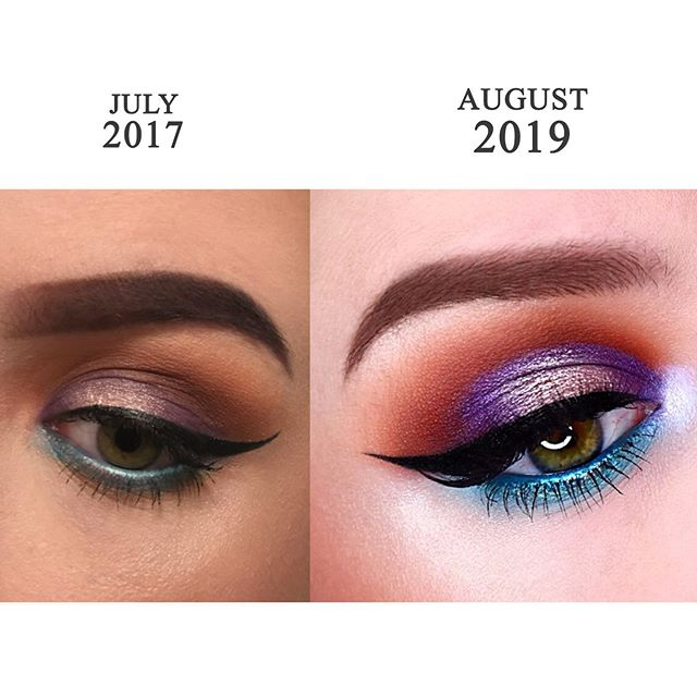 Glow up time. Same look, different techniques. What was I thinking with the brow 😂 • • •
