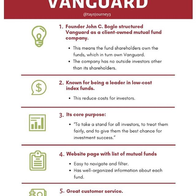 Here are 5 reasons why I like Vanguard. Feel free to share. Please do your own research. 😊 I did my research using @vanguardgroup & @investopedia websites. Follow them for good investing resources!  See my bio @taysjourney3 for link to the list of mutual funds (reason 4).