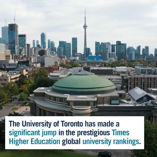 #UofT has jumped three spots in the prestigious @timeshigheredstudent rankings of the world's universities, placing it firmly among the world's top 20 institutions. @UofT remains ranked as Canada's top institution. 🌎📈 ⠀⠀⠀⠀⠀⠀⠀⠀ Click our link in bio for the full story and tag a friend who should know. 😎