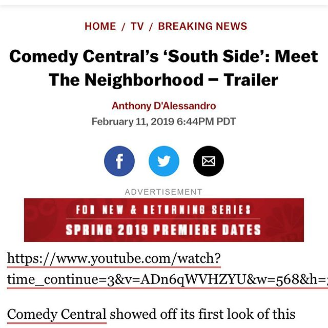 @comedycentral 👀Check it out this summer. Pleasure working with y'all man 🙏🏽 #SouthSide