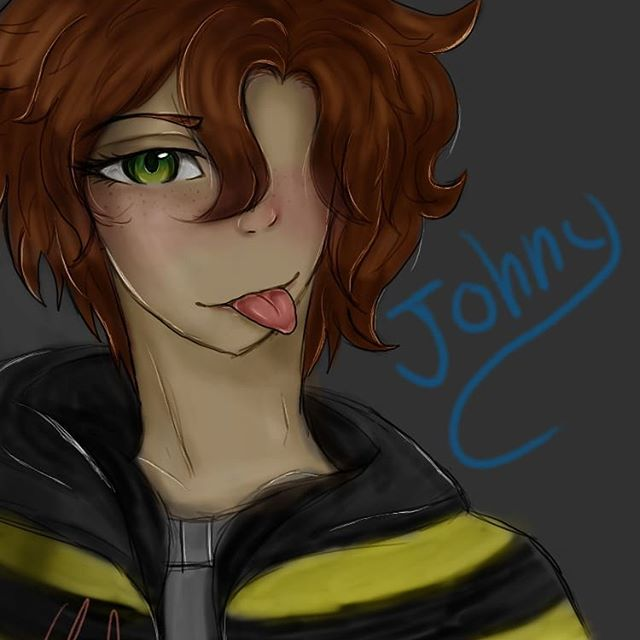 """Art Trade with @coffee._cat_ And I forgot the other """"N"""" In johnny.....welp. This was so fun to do I like Johnny🙂"""