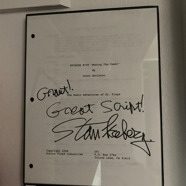 One of my prized possessions. The Dr. Floyd meets Sherlock Holmes  script I wrote signed by Stan Freberg. This is the script he used to record his lines for that episode. It hangs right above my desk. Forever grateful I got to work with him.