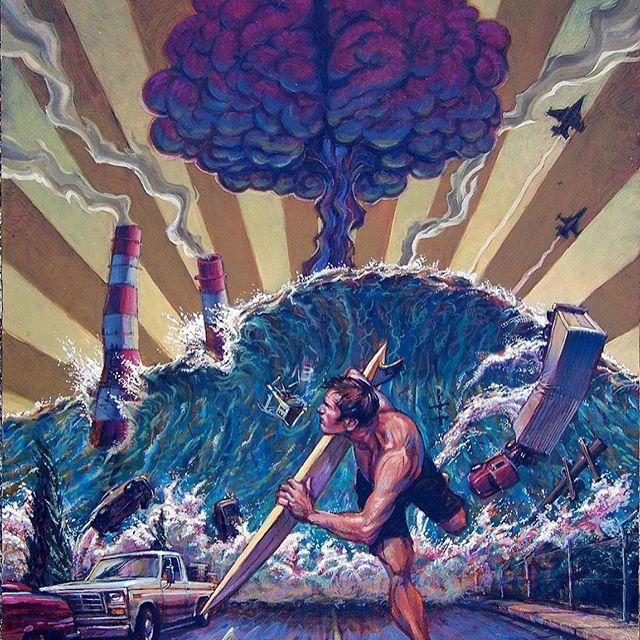 #famaradise_surfart  Сегодня у нас художник из Лос Анджелеса Damian Fulton @damianfulton.  С детства находился рядом с океаном, как говорится одной ногой в океане другой в городе. Так формировалось его оригинальное видение сёрф стиля, вплетенного в городскую инфраструктуру.  Он начал свою художественную карьеру как карикатурист и иллюстратор, создавая комиксы по контркультуре, такие как «The Shred Brothers» и «Radical Rick», а также рисовал плакаты для серфинга в Ocean Pacific и работал в Marvel Productions в качестве вице-президента по креативному развитию. Поэтому его работы выглядят как сёрф комиксы.  #famaradise #surfart #surfing #серфингвиспании