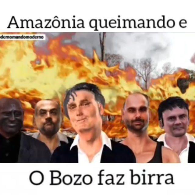 Amazônia pegando fogo e Bolsonaro fazendo Birra...
