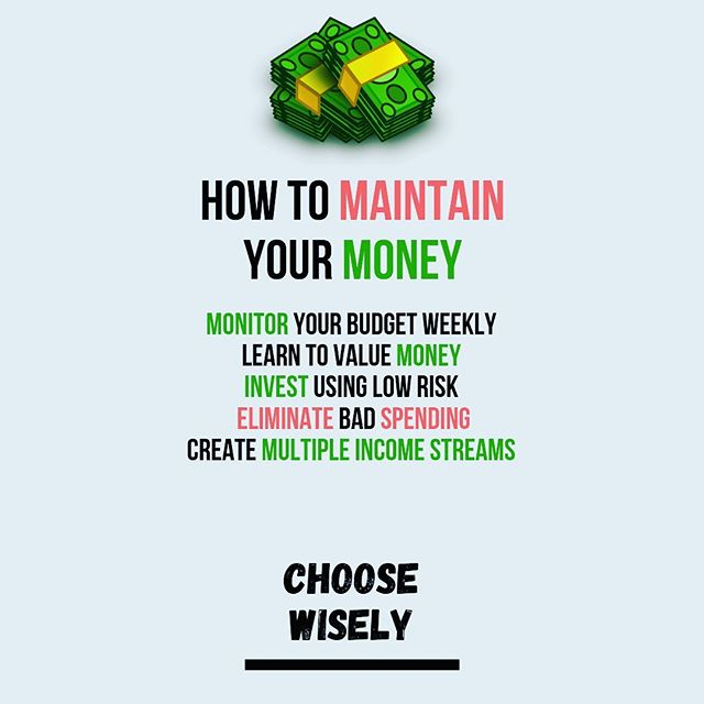 How to Maintain Your Money 💰  Be sure to use a budget & think long term. How do you maintain your money?  If you love this post, than leave a like, comment and let us all know 👇🏽 Have a wonderful day ❤️ Follow us at @choosewiselyllc  Don't forget to turn on notifications 🛎  #entrepreneur #entrepreneurlife #inspirationalquotes #dailyqoutes #qoutes #money #mindset #businessmindset101 #debt