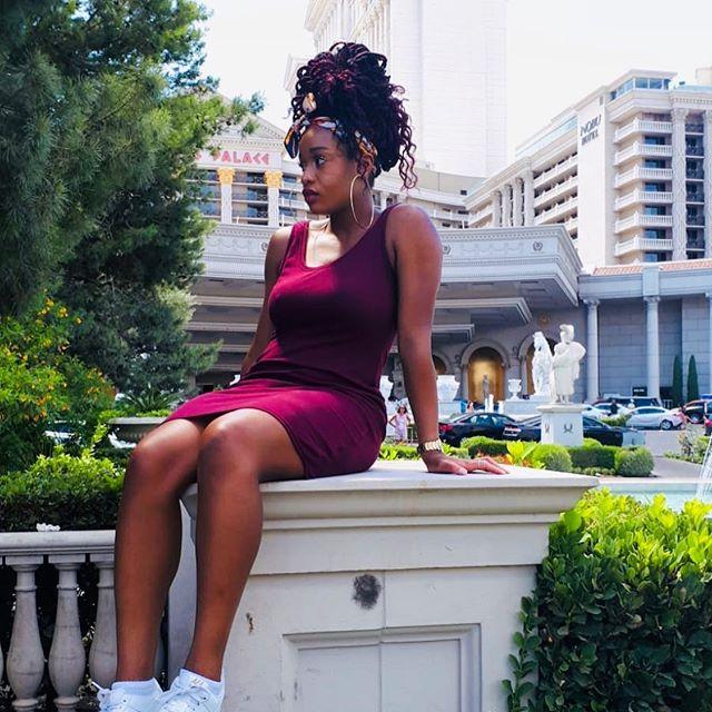 Lookin like a whole black cherry 🍒  #Slaymellebackatitagain#summermood#lasvegas#vacay#wannabe#blackcherry#melaninpoppin#caramel#brownsugar#brownskin#blackgirlmagic#fashionista#styleinsporation#potd#love