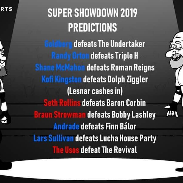 I've made some risky choices, but these are my picks for Super Showdown 2019! What are some of your unexpected predictions?  #wwessd #supershowdown #goldberg #undertaker #wrestlingshorts #predictions