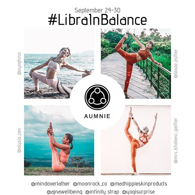 ♎️♎️NEW CHALLENGE ALERT♎️♎️ Sept 24-30 #LibraInBalance .  On sept 23 the sun enters Libra, and many other planets also enter earlier in September. In Libra the Sun is tolerant, affectionate, and well balanced. To celebrate this astrological shift, we are bringing you seven days of balance poses! We invite you to join us as we find balance on our mats and in our lives ⚖️ Feel free to share your daily horoscopes or to just enjoy the balancing challenge! . ♎️Hosts: ♎️ @syoghina  @alysia_cen  @blaze_esther  @mrs_khaleesi_gaither . ♎️Sponsors:♎️ @aumniecreatebalance and @aumniecanada  @mindoverlather @moonrock_co @ajnawellbeing  @infinitystrap @madhippieskinproducts  @yogisurprise . ♎️Pose line♎️ 1) Standing balance  2) Seated balance 3) Backbend balance 4) tip toes balance  5) twisted balance 6) knee balance 7) yogis choice . HOW TO PLAY (and be eligible for our amazing prizes!!) 1️⃣FOLLOW all the SPONSORS and HOSTS 2️⃣Repost the FLYER and invite friends to join. 3️⃣Use the hashtag #LibraInBalance each day in the caption and tag all the hosts and sponsors. 4️⃣Make sure your IG profile is set to public so we can see your post. For prize consideration please state in a post (or bio) where you are located . . . . ********************************* This challenge is in no way affiliated with Instagram. All participants agree to abide by the apps rules and regulations.  #libraseason♎️ #libra #libraryyoga #zodiac #zodiacyogis #septemberyogachallenge #yogachallenge #balance #balancepose