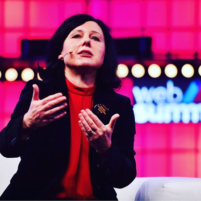 Věra Jourová, EU Commissioner for Justice, Consumers and Gender Equality speaking about the gender gap in the workplace at #WebSummit 2018 💪  #BalanceforBetter #WomeninTech