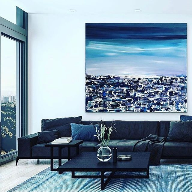 @art.lillylilla 's latest adds big style to our newest room! 💙💙💥via @artroomsapp - Android version now available, click the link in our bio to access👏🏽 - . . . . . . . . . #artist #abstractart #contemporaryart #artsy #artoftheday #interior #insituart #curate #artroom #insitu #artistsoninstagram #kunst #konst #malerei #saatchiartist #bluethumbartist #etsyartist #artistssupportingartists #acryliconcanvas #process #largepainting #interiorart #arte #artistic #create #artwork #arteveryday #artroomapp #artroomsapp