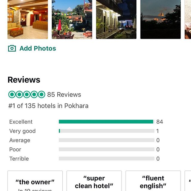 We would like to thank all our wonderful guest for your continuous support & blessing us with wonderful reviews. In less than 9 months of opening our hotel, with your love and support, we have been able to climb from being nothing to being the #1 Traveler Ranked Hotel in Pokhara on Tripadvisor, and also still the Top Reviewed hotel in Pokhara - winning Guest Review Award from Booking.com. Wouldn't have been possible without your generous support and blessings. We are truly grateful. Thank you and Namaste from Three Jewels Family :) #1hotel #tripadvisor
