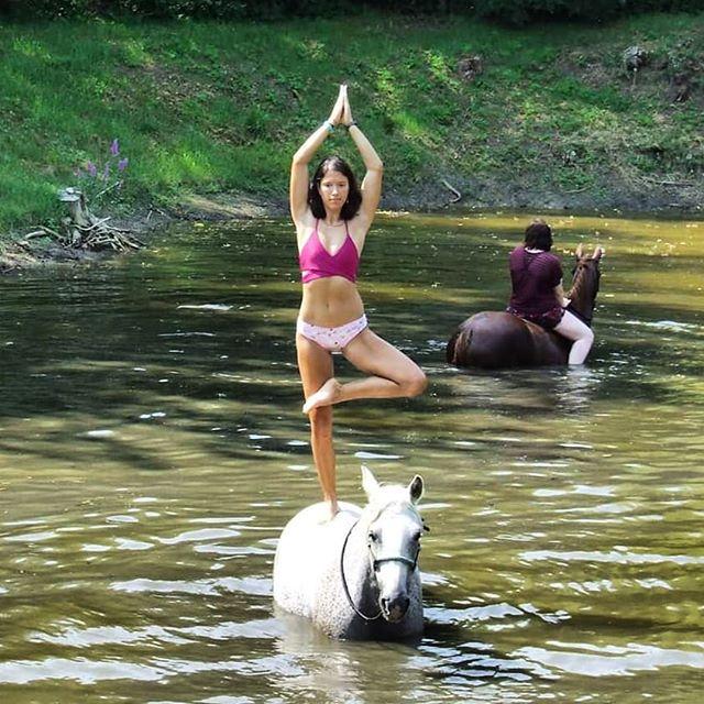 She is my fix point ♡ . . . #nyúl #horse #yogaeverywhere #yogaaddict #yogachallenge #lakeside #swimmingwithhorses #swimsuit #trickriding #trickhorse #treepose #vrksasana #findthebalance #loveher