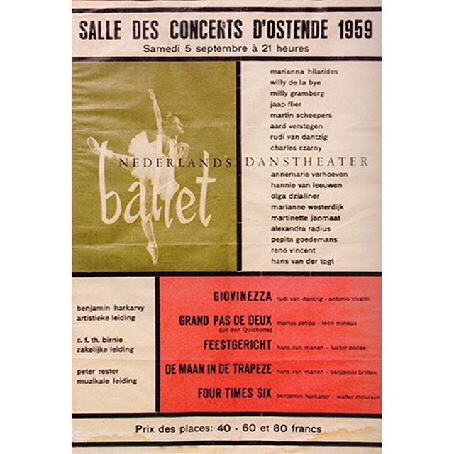 Today it is NDT's 60th birthday! The first performance of NDT took place exactly 60 years ago today: September 5 1959, in Oostende (Belgium). This was the poster for the performance.⠀ ⠀ #NDT60 #NDTdance #archives #GoogleArtsCulture @googleartsculture