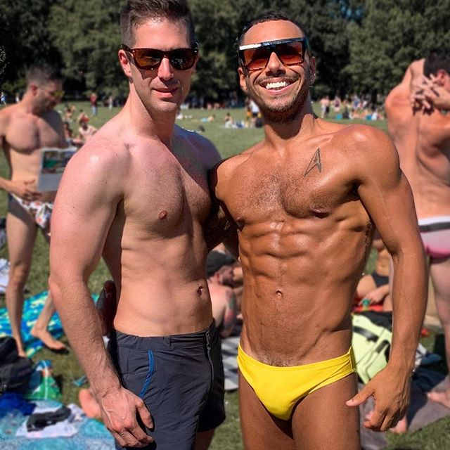 """You can't spell """"The Fourth of July"""" without T-H-O-T. ⠀⠀⠀⠀⠀⠀⠀⠀⠀ Just when you start to feel good about your body you make the mistake of taking a picture with a friend who puts you to shame. Deep deep shame. 🤷🏼♂️ ⠀⠀⠀⠀⠀⠀⠀⠀⠀ Happy Independence Day! 🇺🇸🎇🎆 . . . . . #gaynyc #nycgay #instagay #gayvegan #gayvegans #gayselfie #gay #nyc #newyork #newyorkcity #gayselfie #gaysofinstagram #gaysofinsta #abs #sixpack #eightpack #nopack #veganfitness #centralpark #sheepsmeadow"""