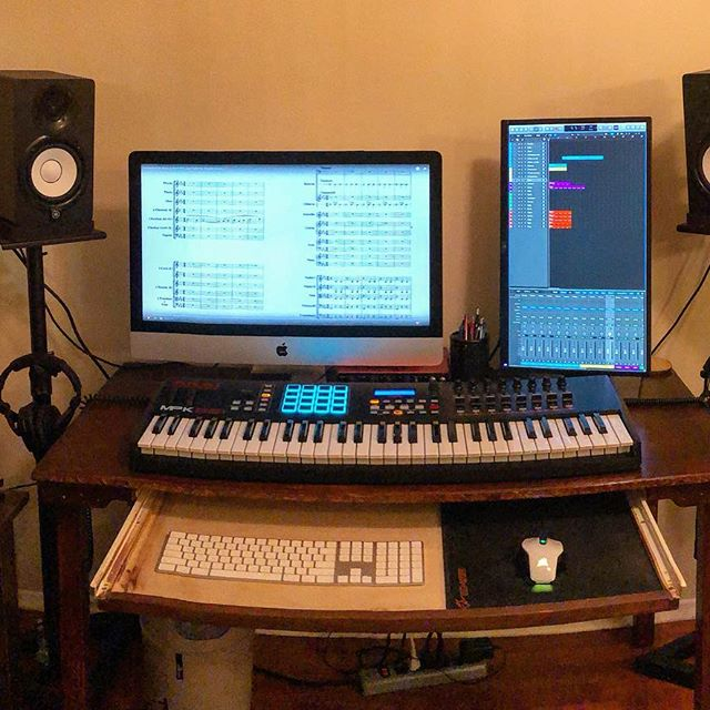 Beginning of a new orchestral mock-up project. #orchestral #mockup #music #studio #musicstudio #logicprox #soundlibrary #akaimpk261 #imac #yamahahs #scarlett18i8 #musicediting #soundmixing #midicontroller #orchestralscore #classicalmusic #composer #musicarranger #musicengineer #orchestra #strings #woodwinds #brass #percussion #synth #soundfx