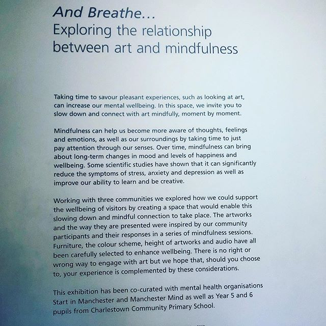 While up in Manchester, I had the chance to visit: And Breathe… an exhibition of artworks exploring the relationship between art and positive mental health and wellbeing. The exhibition is designed to encourage us to slow down, connect with art, practice some mindfulness and enhance our wellbeing.😌 If you're up in Manchester between now and Sunday 27 October 2019 do check out this exhibition at @mcrartgallery  It's free! 😊 #mentalhealthawareness #healthiswealth #mentalhealthmatters #mindfulness