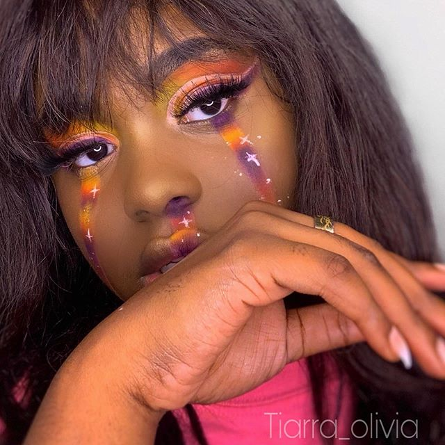 "She's running on black girl magic ✨ . . .also If you know who did this first dm me pls it's so many I can't find the original owner 🥺  EYES : @shopamorususa ""remember me"" palette 🎨  Brows : @anastasiabeverlyhills dip brow  Liner : @elfcosmetics  Lashes: @miaecosmetics lashes use my code ""TIARRAO5"" for 15% off  FACE : @nyxcosmetics foundation 'can't stop won't stop' @lagirlcosmetics 'beautiful bronze' & 'mahogany' Primer : @touchinsol_official 'no poreblem' prime essence  @wander_beauty 'glow ahead' illuminating face oil  Powder : @maybelline fit me power '40' @beccacosmetics 'hydra mist' powder Highlight @bhcosmetics Spotlight . LIPS  @dominiquecosmetics lemonade . .  #makeuplooks #nyxcosmetics #bhcosmetics  #makeuplooks #eyesmakeuplook #melaninmakeup #colorfulmakeup #makeuptutorial #explorepage #anastasiabeverlyhills #makeupvideos #makeuptutorials #tiarraolivia #anastasiabeverlyhills #blackgirlmagic #muasfeaturing #editorialmakeup"
