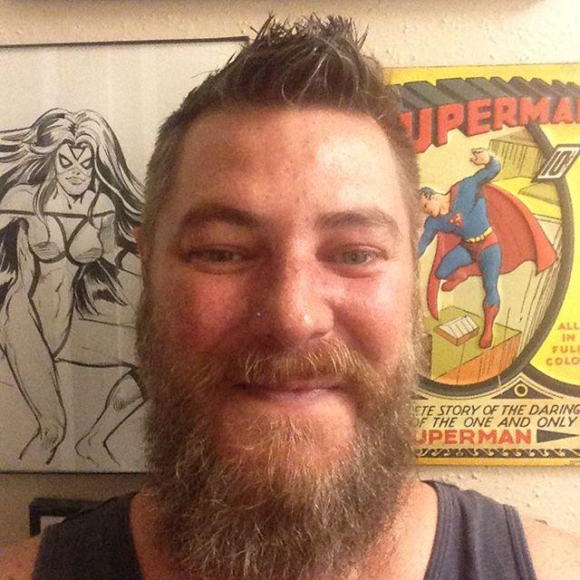 Post Bday haircut & having a 🔥 Fireball & Kool Aid 😋kinda night #atx #austintexas #gaybeard #gaytattoos #fireballwhiskey
