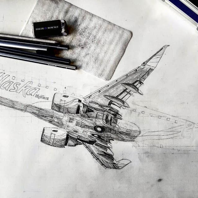 A smidgen of progress. #e175 #erj #wip #graphitedrawing