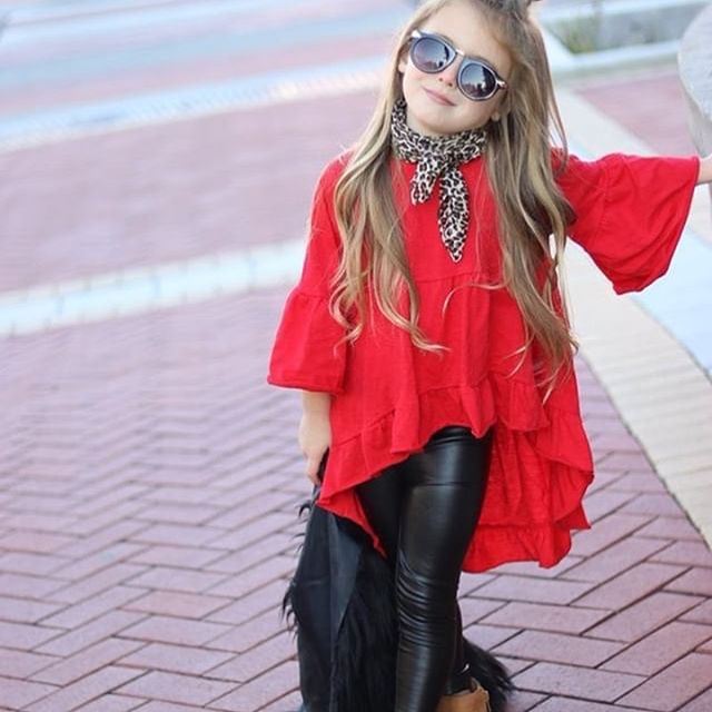 Shop this look at www.littlechocopink.com Search> Hi lo ruffle tops & Black faux leather leggings