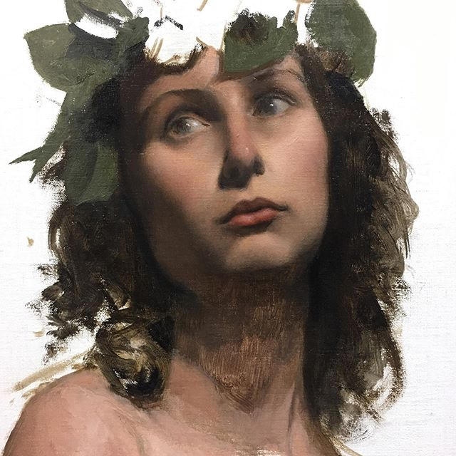 "Portrait sketch of Josie. 12""x 16"", oil on hand-primed linen panel. From life, about 10 hours.  Painted this little sketch in my life drawing group to test the oil primed linen panels I made a few weeks ago. The model's wreath crown prop was inspired by  late-19th century academic paintings, especially Alma-Tadema and Bouguereau. Right now every painting is a learning experience, looking forward to building on this in my next painting! #portraitpainting #portrait #academicart #fromlife #oilpainting #painting"
