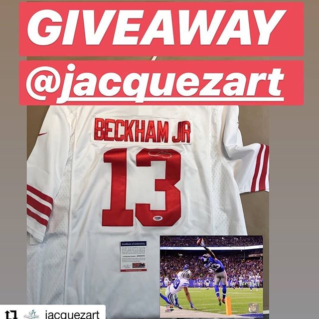 @jacquezart • • • • • • NEXT GIVEAWAY! FULLY CUSTOM FRAMED JERSEY @obj @nygiants signed jersey with COA and the ONE HAND CATCH PHOTO.  HOW TO WIN:  1) FOLLOW @jacquezart  2 TAG 3 PEOPLE by leaving a comment here. 3) SHARE on your IG Story.  Winner will be announced 10/7 during the Monday Night Football game. #JerseyFraming #GIVEAWAY #obj #customframing #sportsmemorabilia #pristineauction #fanatics #football #nflisback #footballtime #sundayfootball