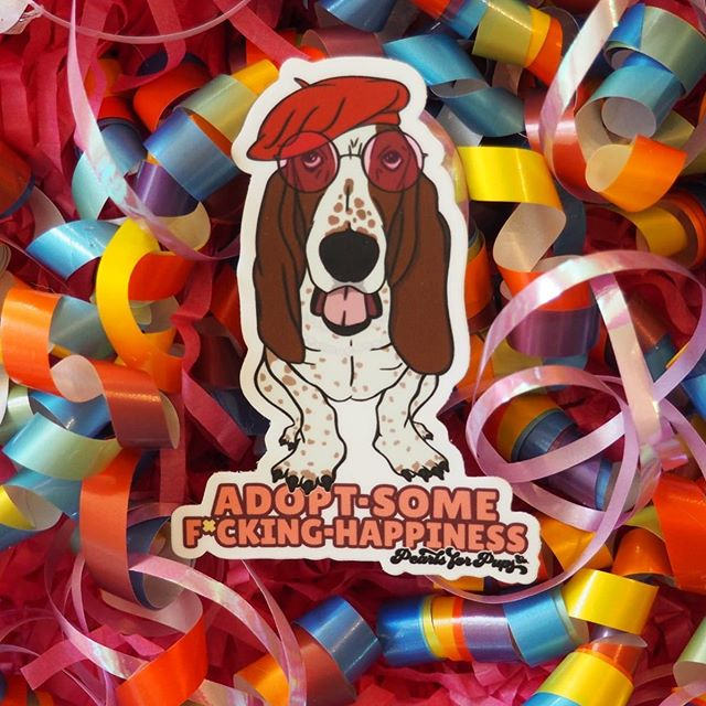 ADOPT-SOME-F*CKING-HAPPINESS  @pearlsforpupsco  #pearlsforpupsco #pearlsforpupssaveslives #rescuedogs #helpdogs #adoptdontshop #lovedogs #adopthappiness #bassetsassy